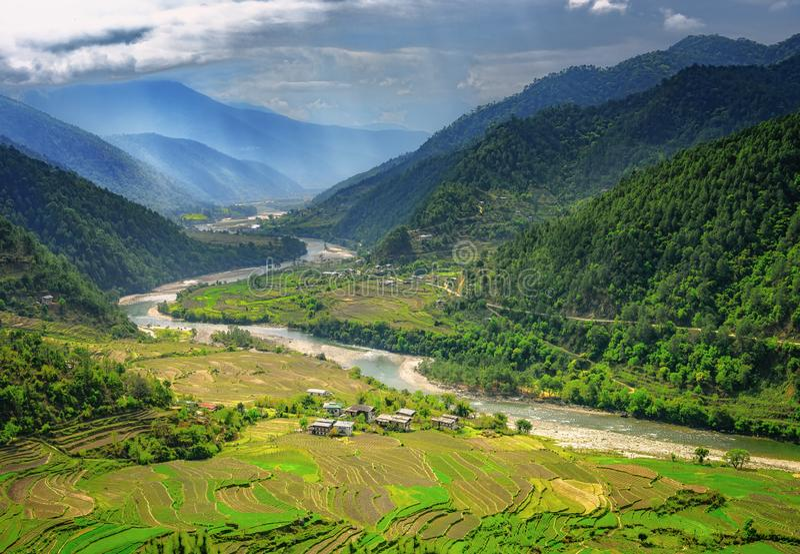 Paysage de nature du Bhutan de vallée images stock