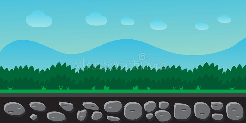 Paysage de nature, fond pour des jeux, arbres, montagnes illustration libre de droits