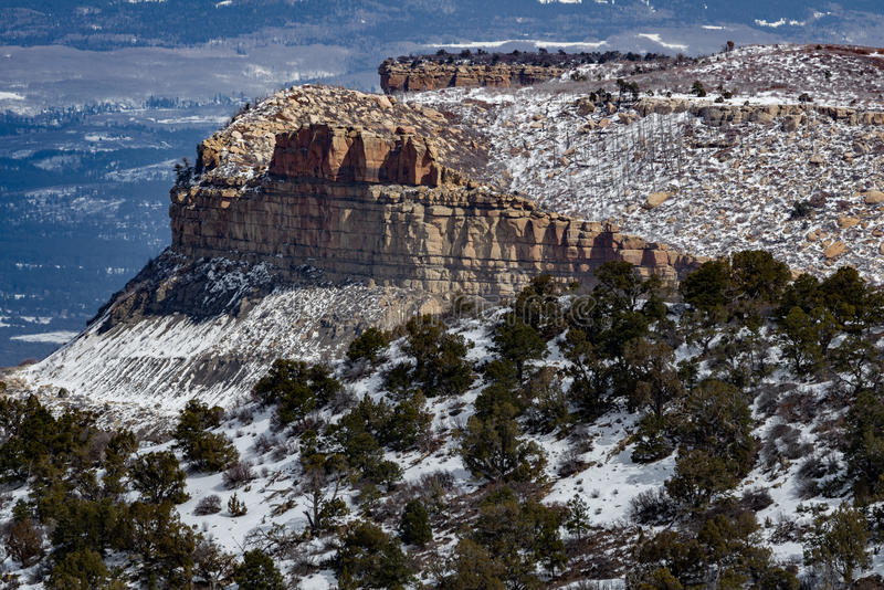 Paysage de neige d'hiver de montagne de désert de parc national de verde de MESA photos libres de droits