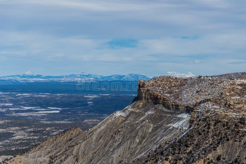 Paysage de neige d'hiver de montagne de désert de parc national de verde de MESA photo libre de droits