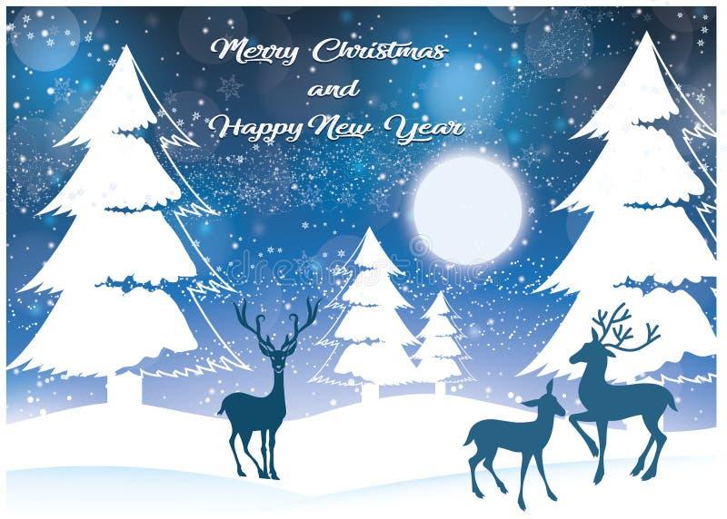 Paysage de Noël avec la neige illustration stock
