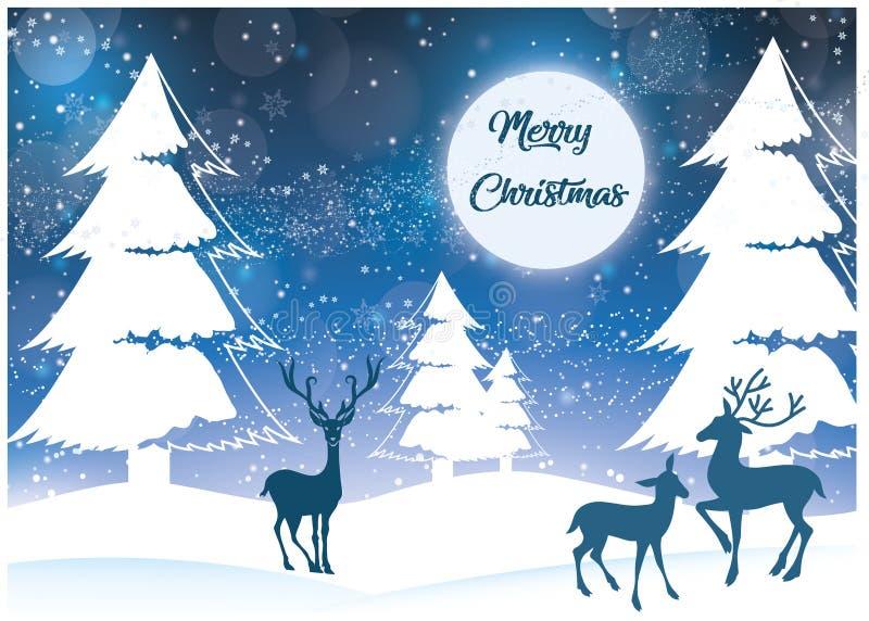 Paysage de Noël avec la neige illustration de vecteur