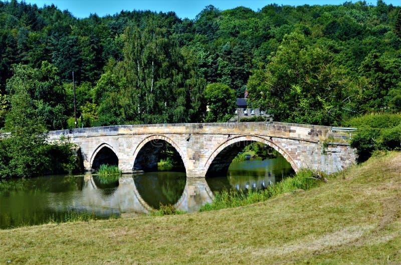 Paysage de North Yorkshire - rivière Derwent au prieuré de Kirkham photo stock