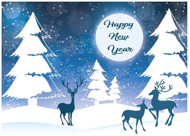 Paysage de nouvelle année avec la neige illustration libre de droits