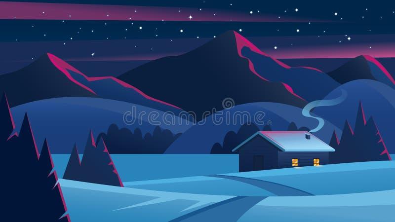 Paysage de nuit avec des montagnes et une hutte isolée Paysage de réveillon de Noël Maison ozy de ¡ de Ð dans le vecteur de forêt illustration stock