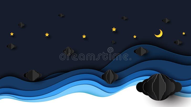 Paysage de nuit avec des nuages, des étoiles et le croissant de lune illustration stock
