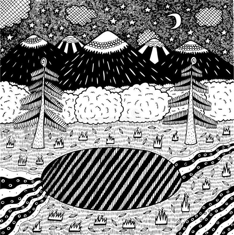 Paysage de nuit avec la forêt de nuit, lac, arbres, montagnes, rivière Illustration tir?e par la main d'encre Page de coloration  illustration stock