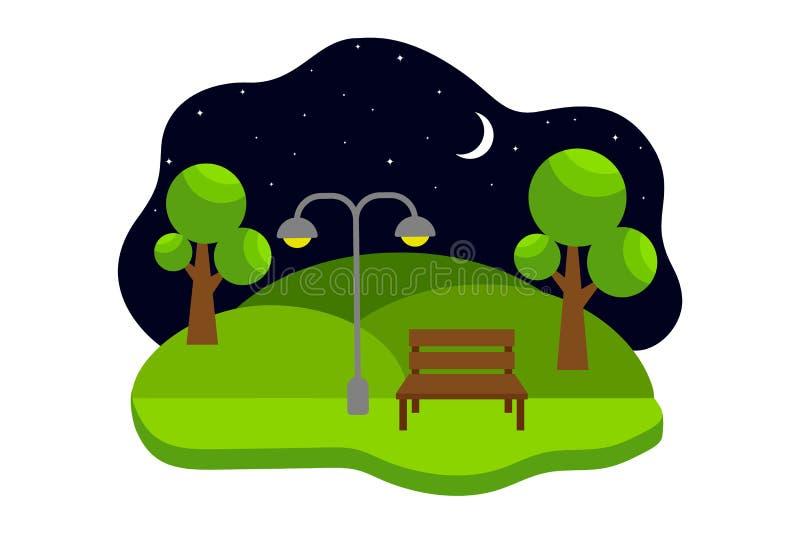 Paysage de nuit avec un banc en parc de ville Illustration plate de vecteur illustration stock