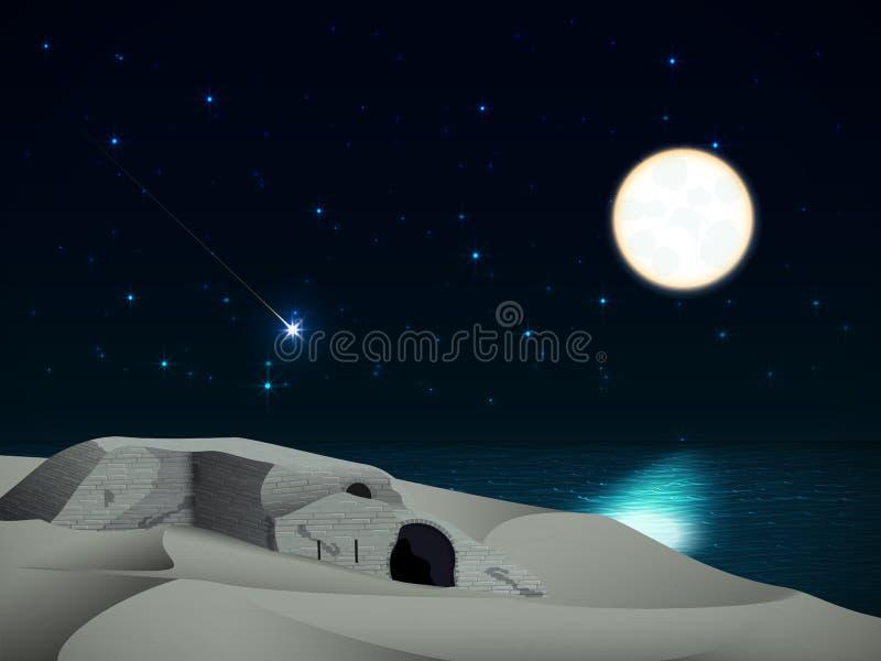 Paysage de nuit avec un château ruiné sur la plage illustration de vecteur