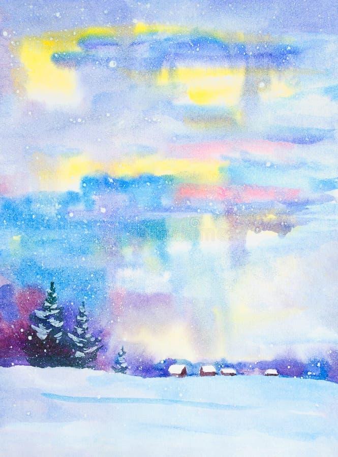 Paysage de nuit d'aquarelle Maison de campagne pendant l'hiver Paysage d'hiver, neige, cong?re, barri?re Nuit, soir?e, hutte Un S illustration libre de droits