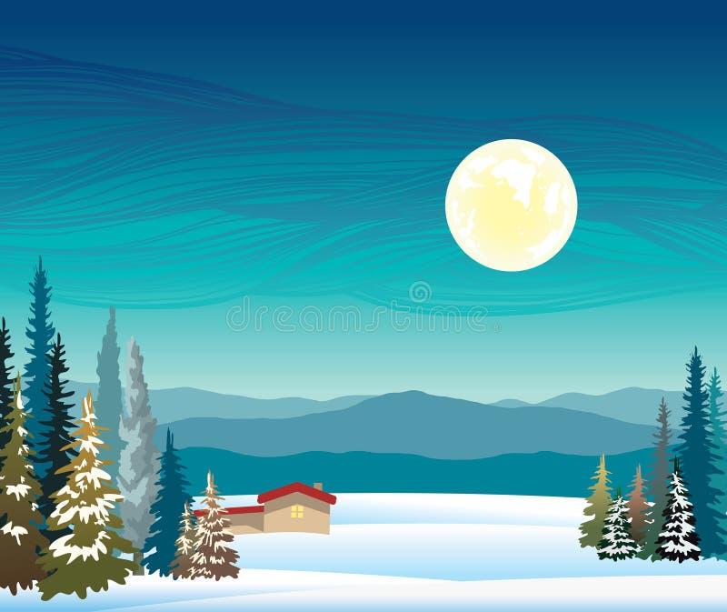 Paysage de nuit d'hiver - montagnes, maison, forêt et pleine lune illustration libre de droits