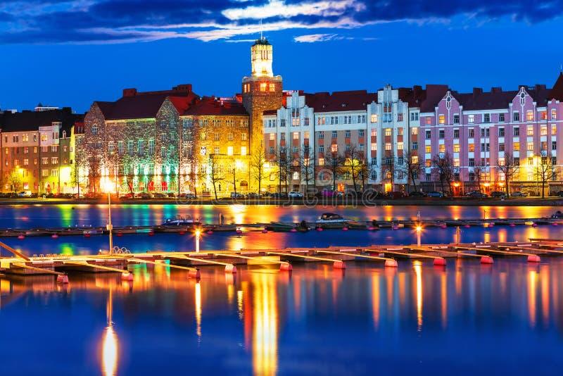 Paysage de nuit de Helsinki, Finlande image stock