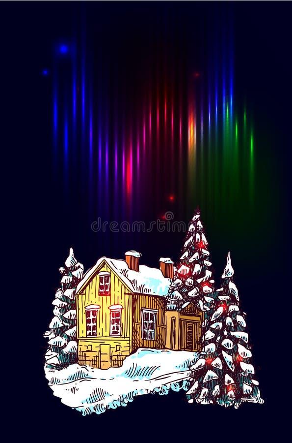 Paysage de nuit de Noël illustration stock