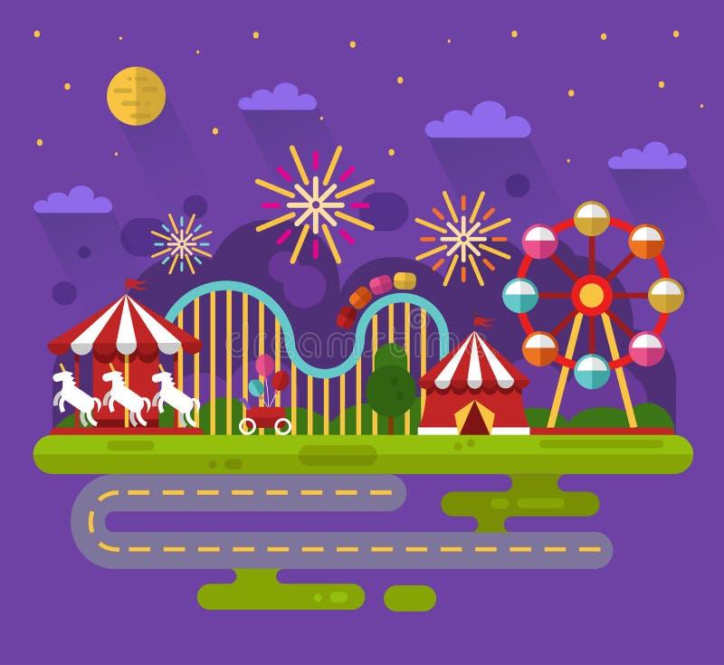 Paysage de nuit de parc d'attractions illustration de vecteur