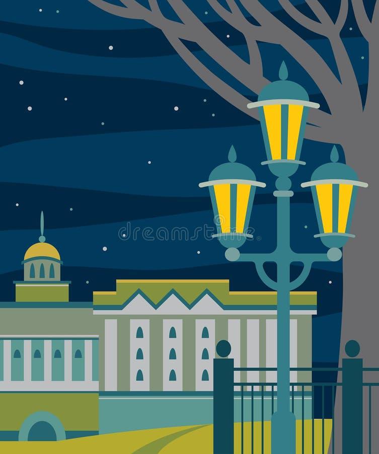 Paysage de nuit de ville - bâtiment, réverbère, arbre, ciel étoilé illustration stock