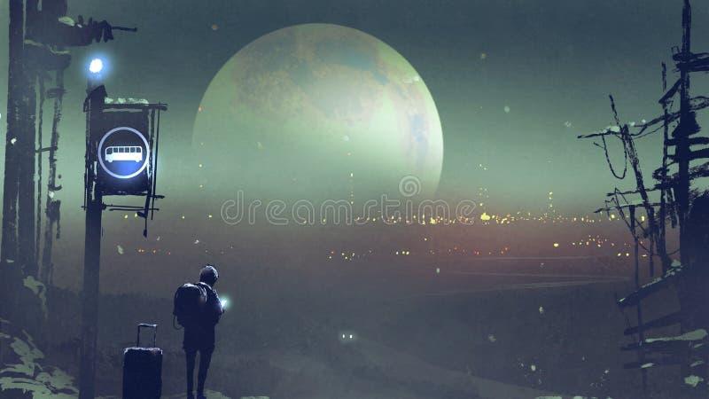 Paysage de nuit du garçon à l'attente d'arrêt d'autobus illustration libre de droits