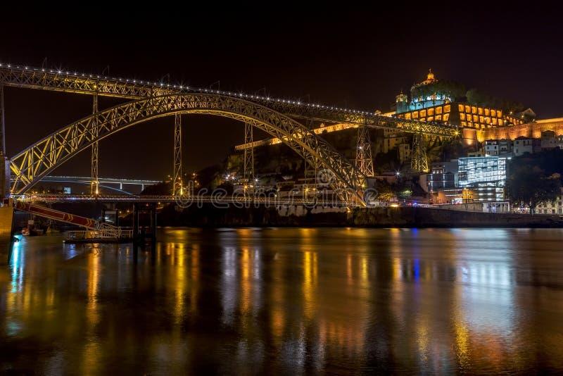 Paysage de nuit de la ville de Porto sur la rivière de Douro, donnant sur le pont du San Luis et du monastère image libre de droits
