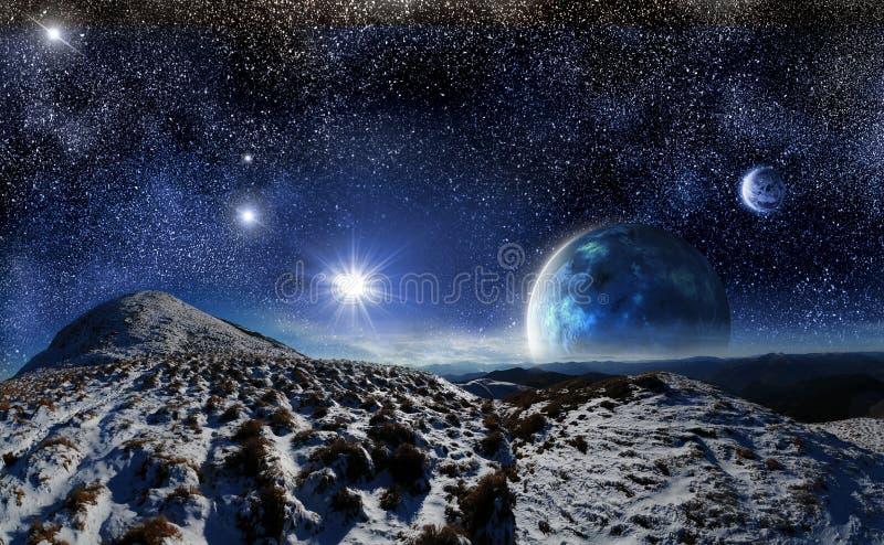 Paysage de nuit sur un fond de l 39 espace illustration stock for Paysage espace