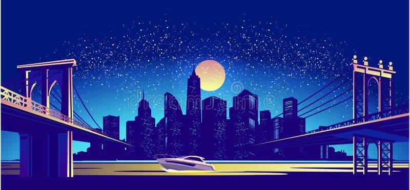 Paysage de nuit de ville illustration libre de droits