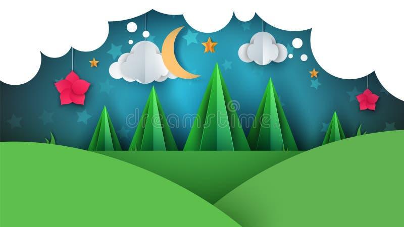 Paysage de papier de bande dessinée Illustration de sapin Lune, nuage, fleur illustration libre de droits