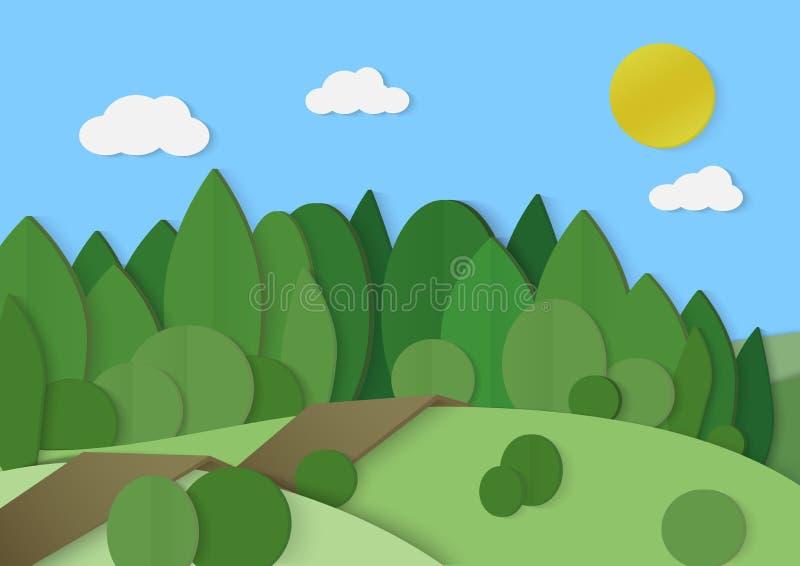 Paysage de papier de carton en bois de forêt Arbre vert de parc illustration libre de droits