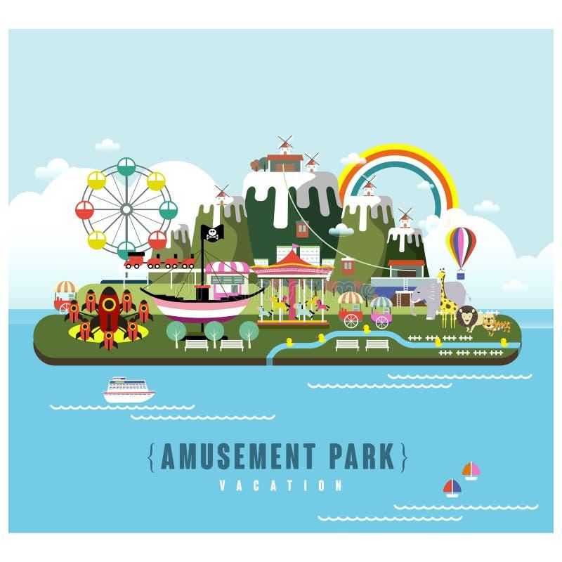Paysage de parc d'attractions illustration stock