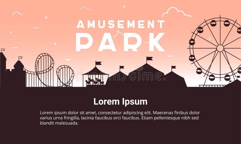 Paysage de parc d'attractions de silhouette plat Illustration de parc d'attractions pour la conception infographic de carte illustration stock
