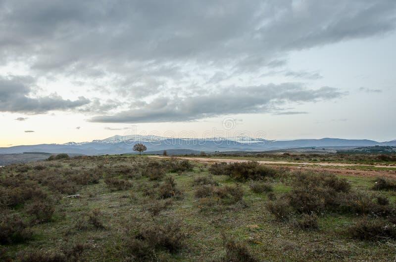 Paysage de parc naturel de Fuentes Carrionas avec la montagne couverte par neige Palencia image stock