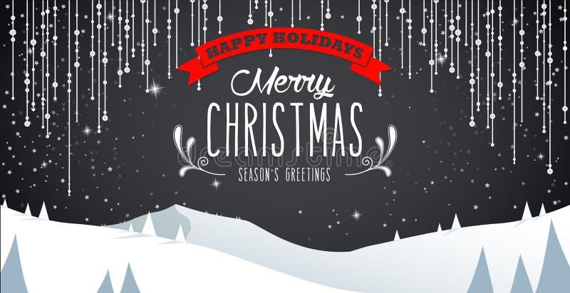 Paysage de paysage de montagne d'hiver, Joyeux Noël illustration stock