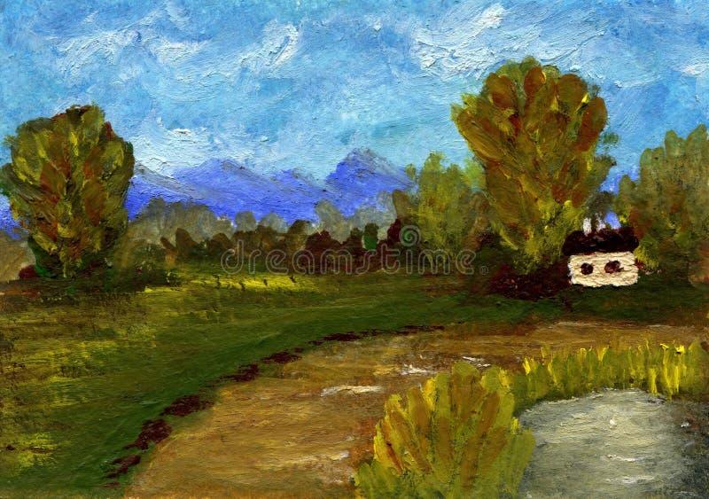 Paysage de peinture à l'huile illustration stock