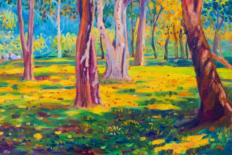 Paysage de peinture à l'huile sur la toile - arbres colorés d'automne illustration stock