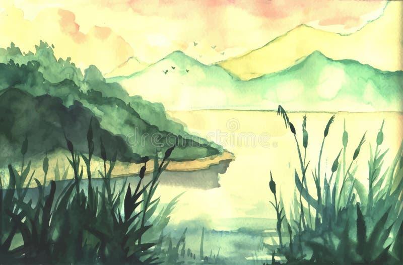 Paysage de peinture d'aquarelle illustration libre de droits