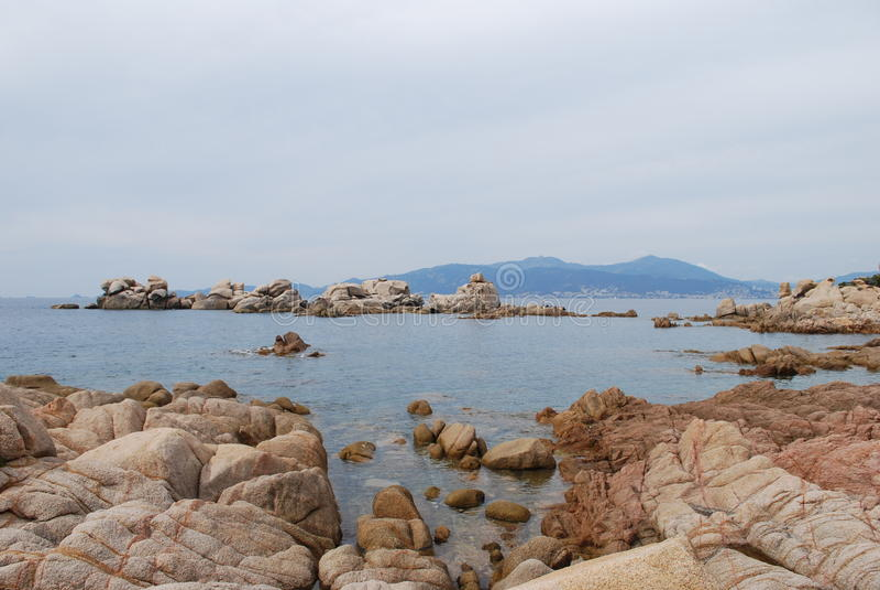 Paysage de pierres, île de Corse image stock