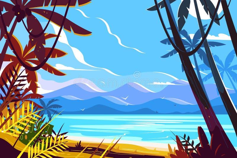 Paysage de plage de paradis illustration stock