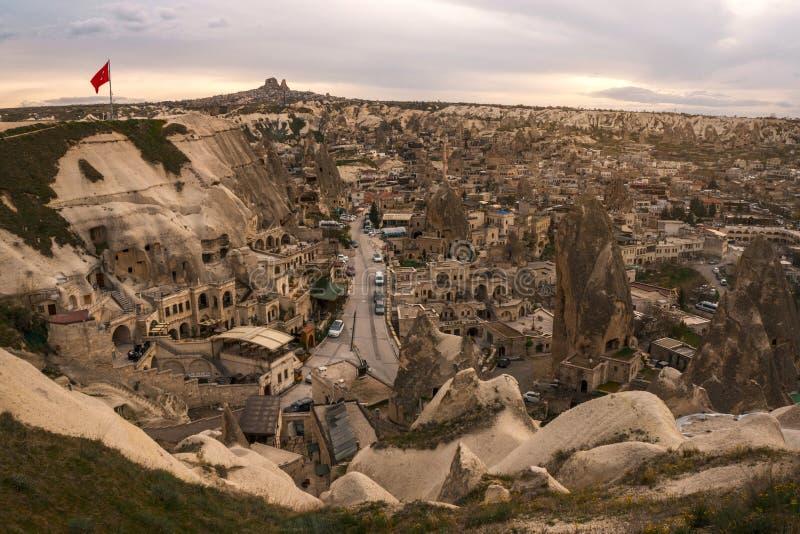 Paysage de point de vue de coucher du soleil de Goreme Cappadocia Province de Nevsehir La Turquie photos libres de droits