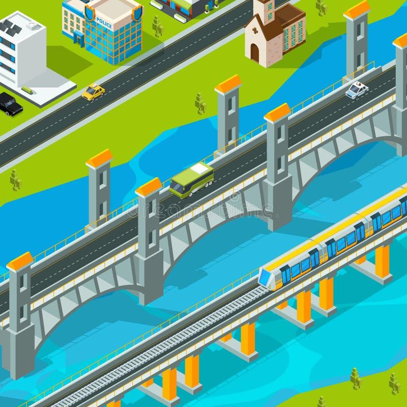 Paysage de pont de ville Paysage isométrique de voiture de passerelle de bâtiment de passage supérieur de route de vecteur piéton illustration de vecteur