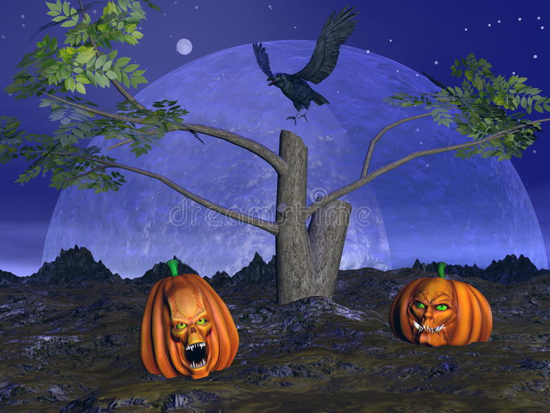 Paysage de potirons de Halloween - 3D rendent illustration stock