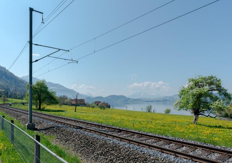 Paysage de ressort avec le lac et les montagnes et les voies de train dans le premier plan image libre de droits