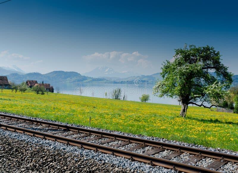 Paysage de ressort avec le lac et les montagnes et les voies de train dans le premier plan photos libres de droits