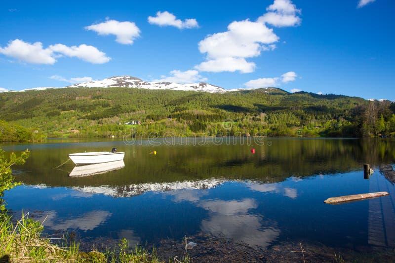 Paysage de ressort de la Norvège image libre de droits