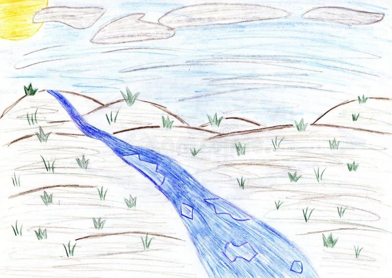 Paysage de ressort - dessin d'enfants illustration de vecteur