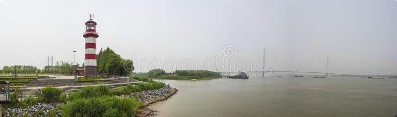 Paysage de rive de Nanjing Hexi avec le puzzle photographie stock libre de droits