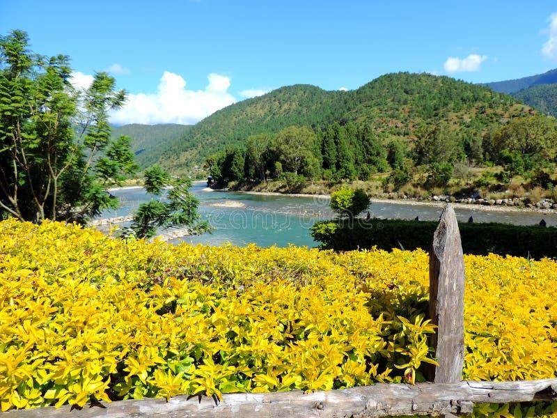 Paysage de rivière de Pho Chu avec des montagnes, Punakha, Bhutan images stock