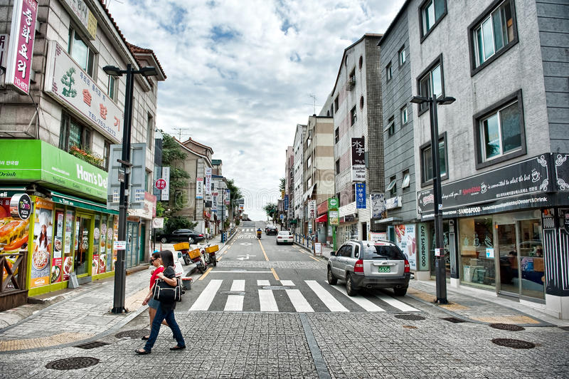 Paysage de rue autour de région d'Insadong à Séoul, Corée photographie stock libre de droits