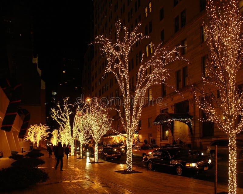 Paysage de rue de New York au temps de Noël photos stock