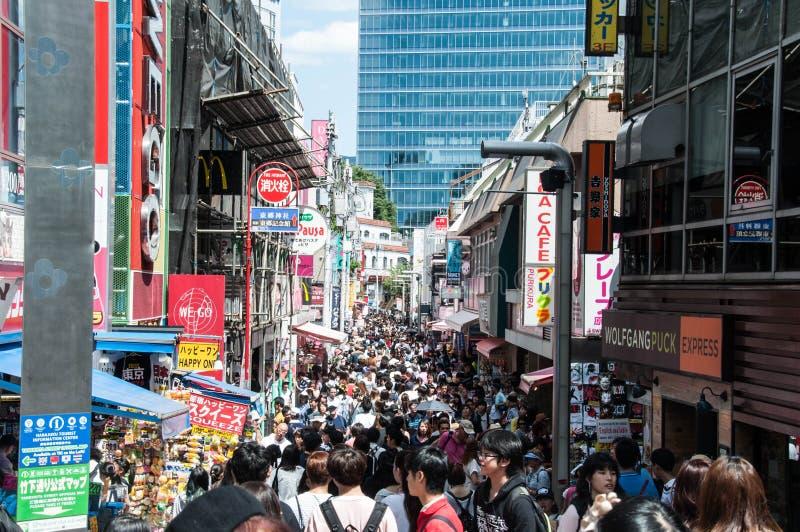 Paysage de rue de Takeshita photographie stock libre de droits