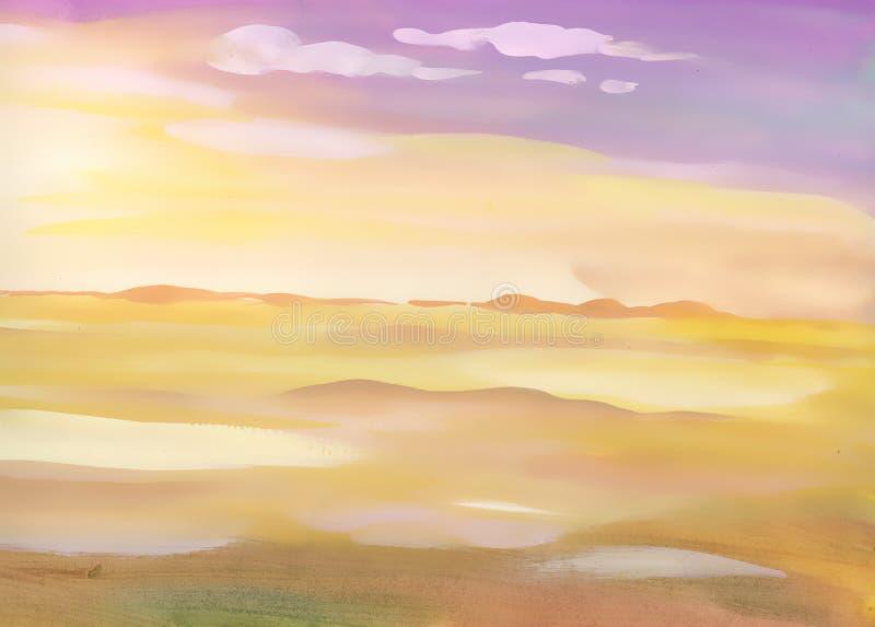 Paysage de sable de désert d'aquarelle illustration libre de droits