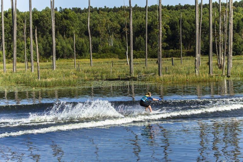 Paysage de ski nautique de fille images stock