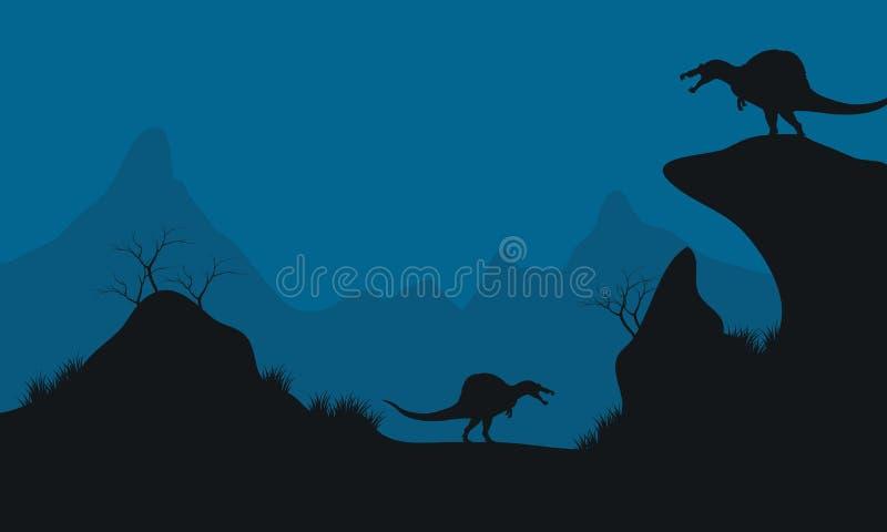 Paysage de Stegosaurus en collines illustration de vecteur
