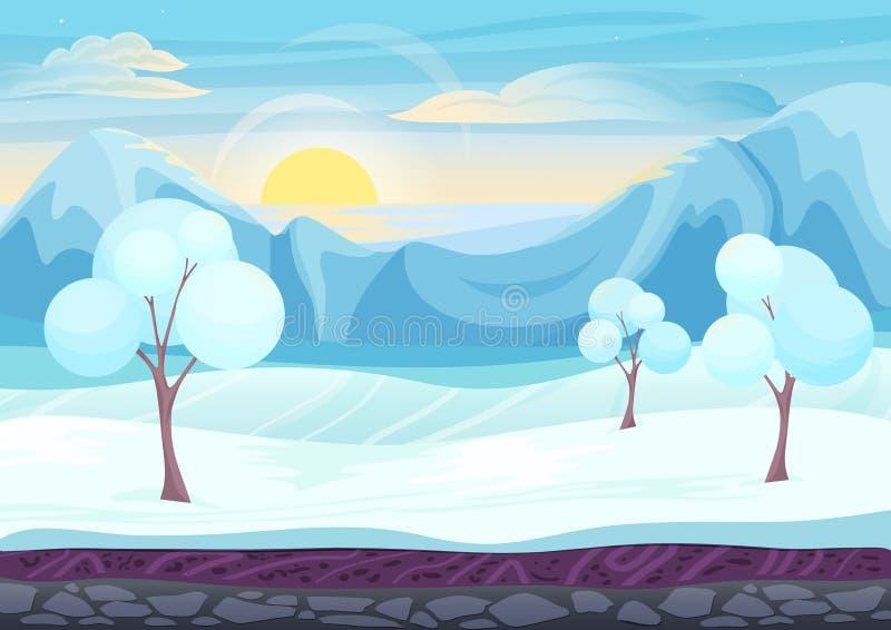 Paysage de style de jeu d'hiver de bande dessinée illustration stock